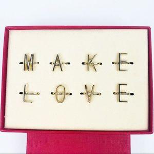 "Valentino ""MAKE LOVE"" Set Of 8 Adjustable Rings"